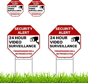 2PC 24 Hour Video Surveillance Sign with Stakes, 13