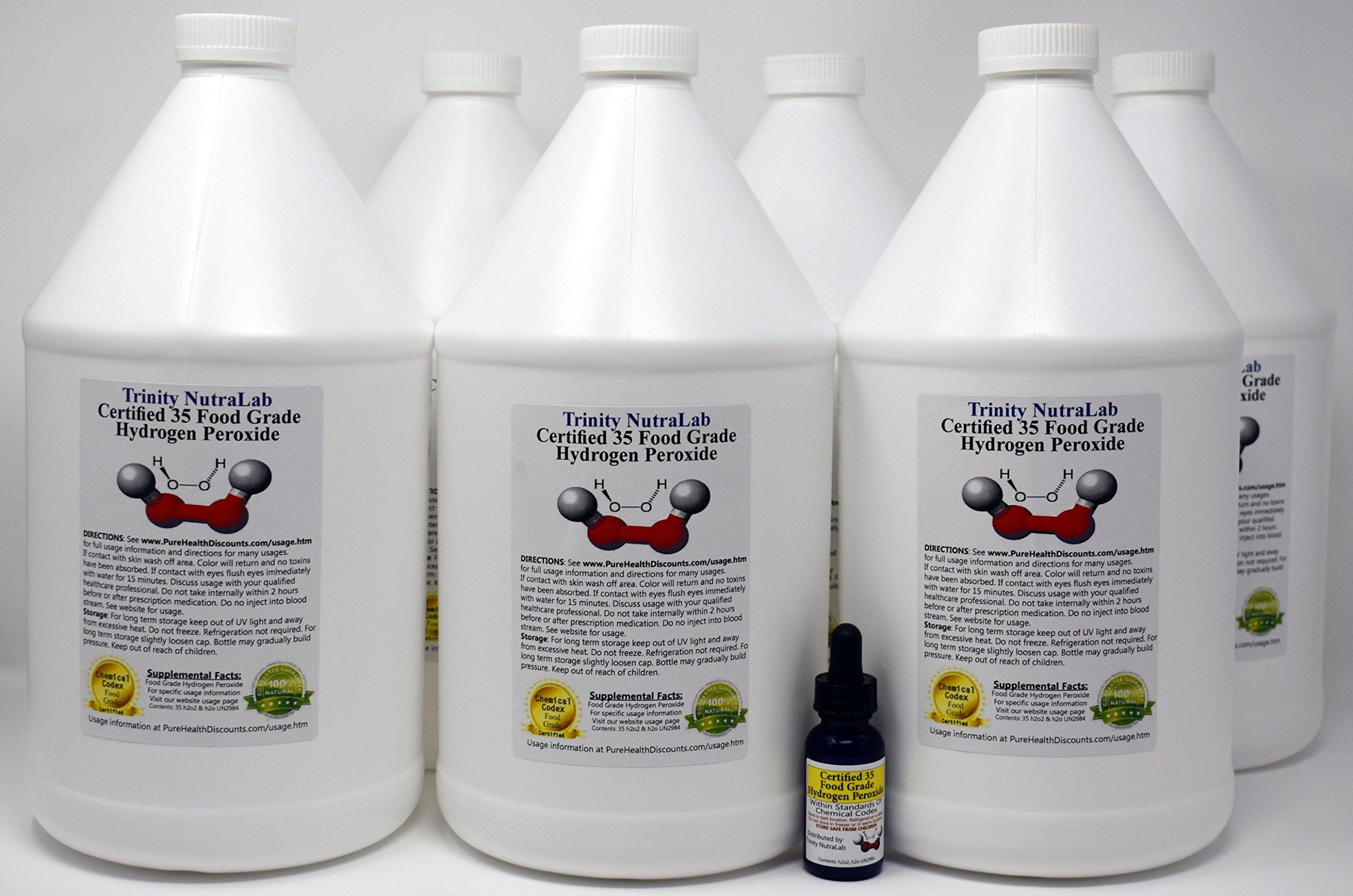 6 Gallons of TNL Certified 35% Food Grade Hydrogen Peroxide on sale. This is the Best on the Market with Free 1 Ounce Dropper Bottle filled with H2o2 by Trinity Nutralab