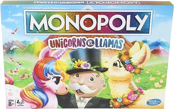 Monopoly Unicorns vs. Llamas Board Game