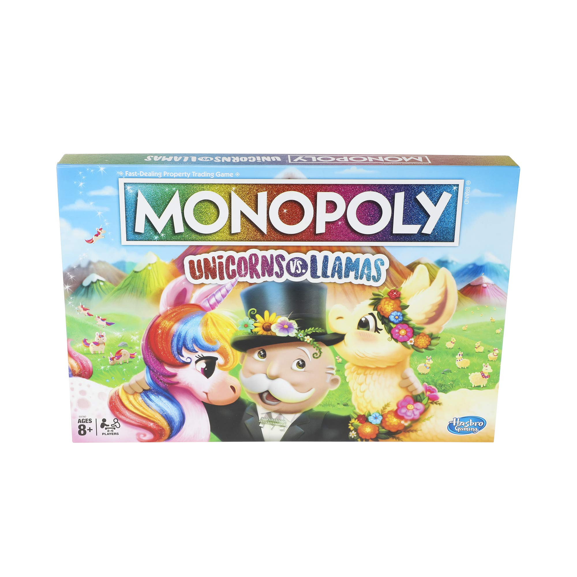 Monopoly Unicorns vs. Llamas Board Game for Ages 8 and Up; Play on Team Unicorn or Team Llama