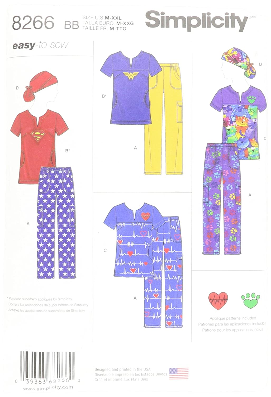 Simplicity patrón de Costura para Batas 8266 BB - Patrones de Costura para fácil de Coser con coleta Sombrero, Blanco, Medium - Large - XL - 2 x -Large: ...
