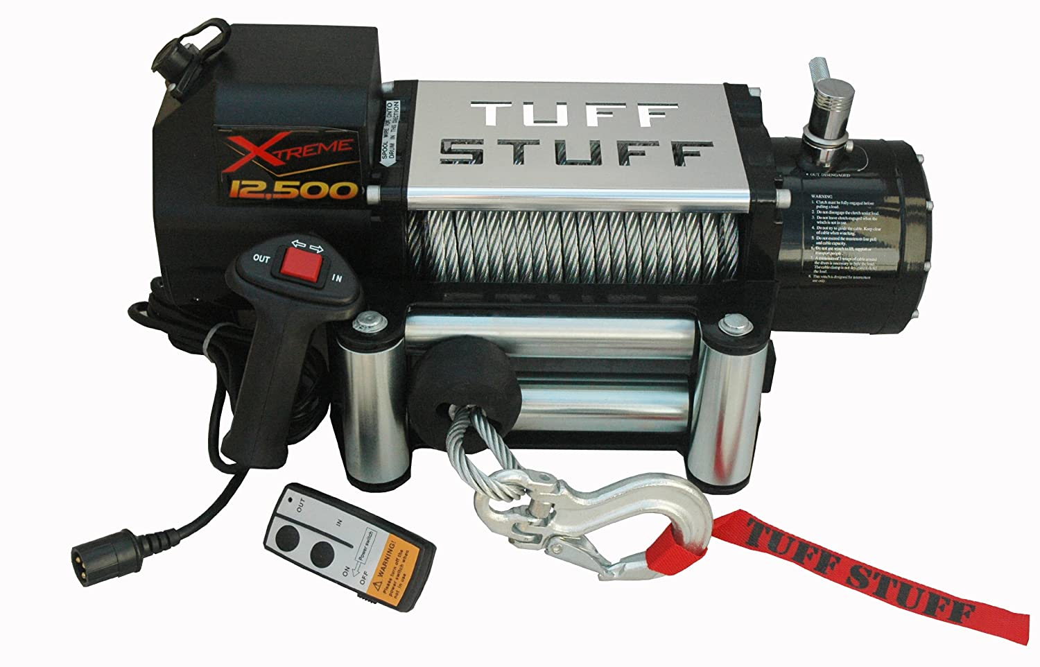 Tuff Stuff Xtreme 12500lb Winch Waterproof Wireless Wiring Diagram Snatchblock Gloves Cover Included Home Improvement