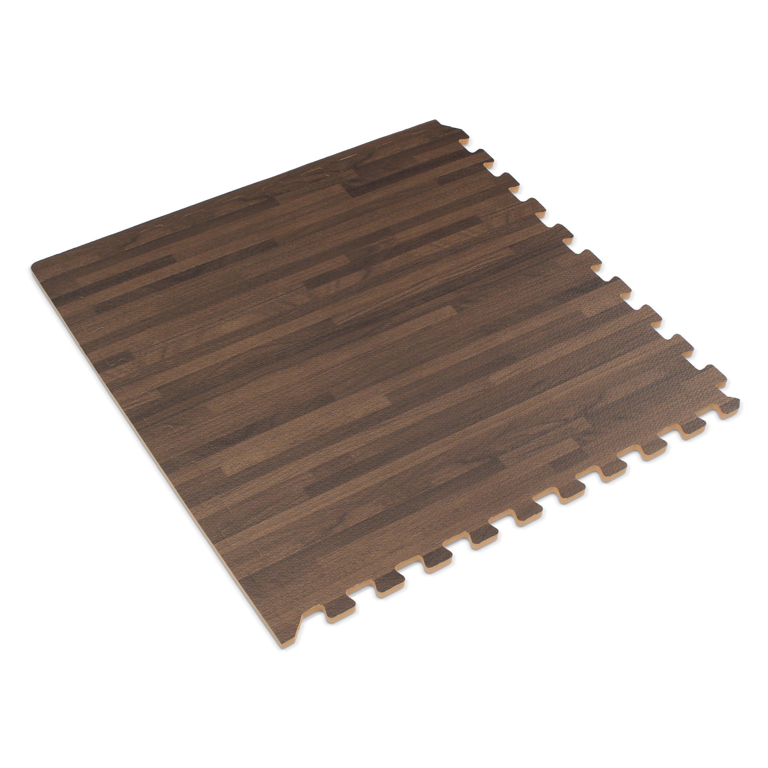 Forest Floor 3/8'' Thick Printed Wood Grain Interlocking Foam Floor Mats, 16 Sq Ft (4 Tiles), Walnut by Forest Floor (Image #2)