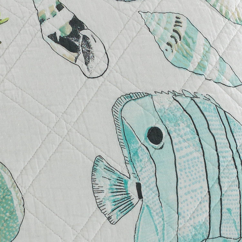 Amazoncom Levtex Biscayne King Cotton Quilt Set Aqua Coastal Home
