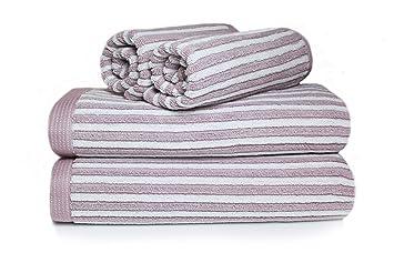 restmor Set de 4 Toallas 100% Algodón de 550g/m2 - Diseño Manhattan Rayado y Reversible - Blanco y Malva: Amazon.es: Hogar