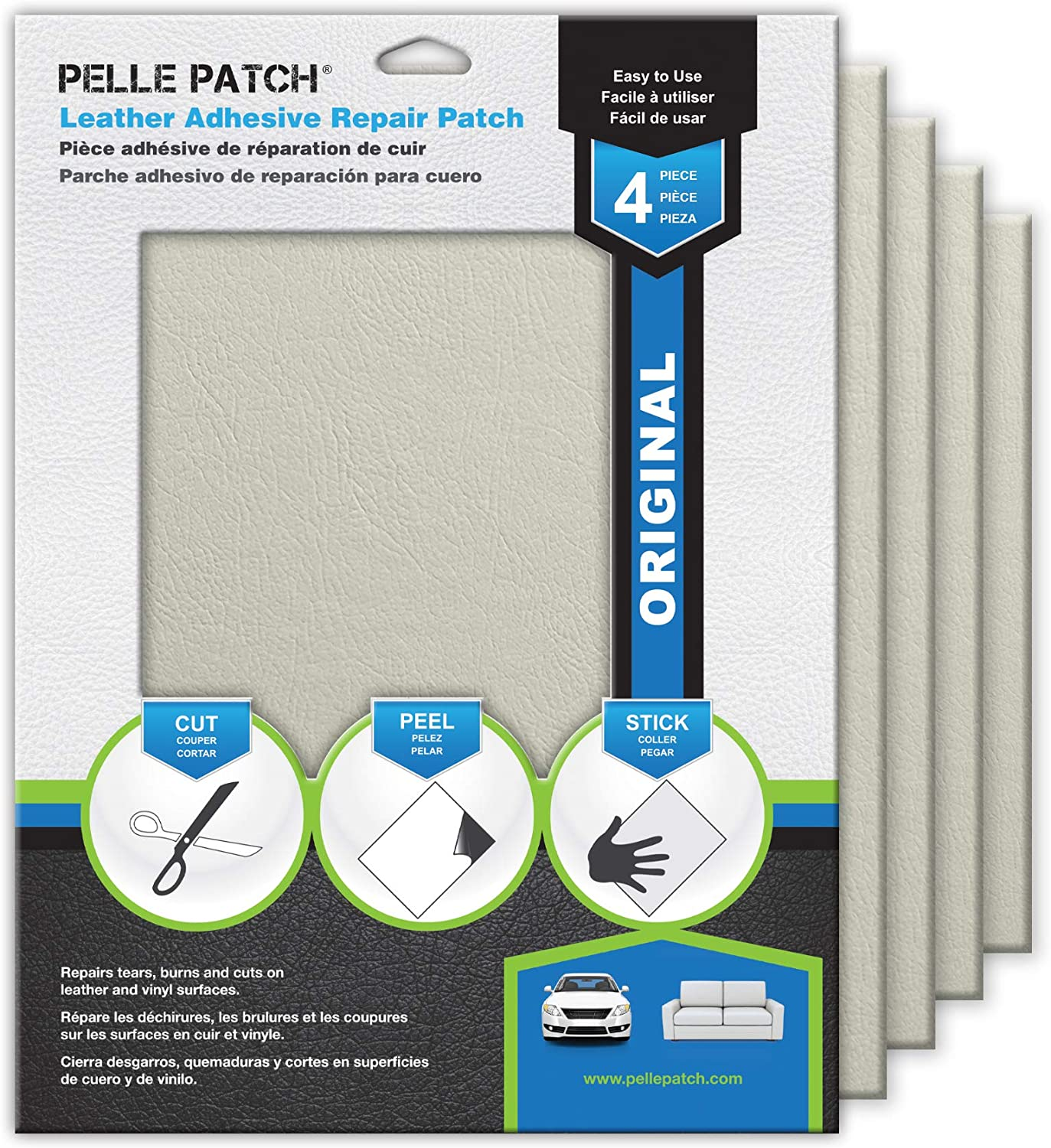 Pelle Patch - 4X Leather & Vinyl Adhesive Repair Patch - 25 Colors Available - Original 8x11 - Off-White