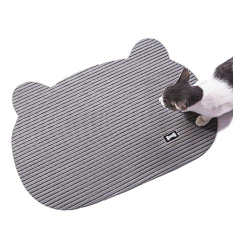 Alfombrilla antideslizante para bandeja de arena para gatos, con cabeza de gato suave, para