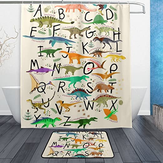 Alphabets With Dinosaurs Animal Shower Curtain for Bathroom Waterproof Fabric