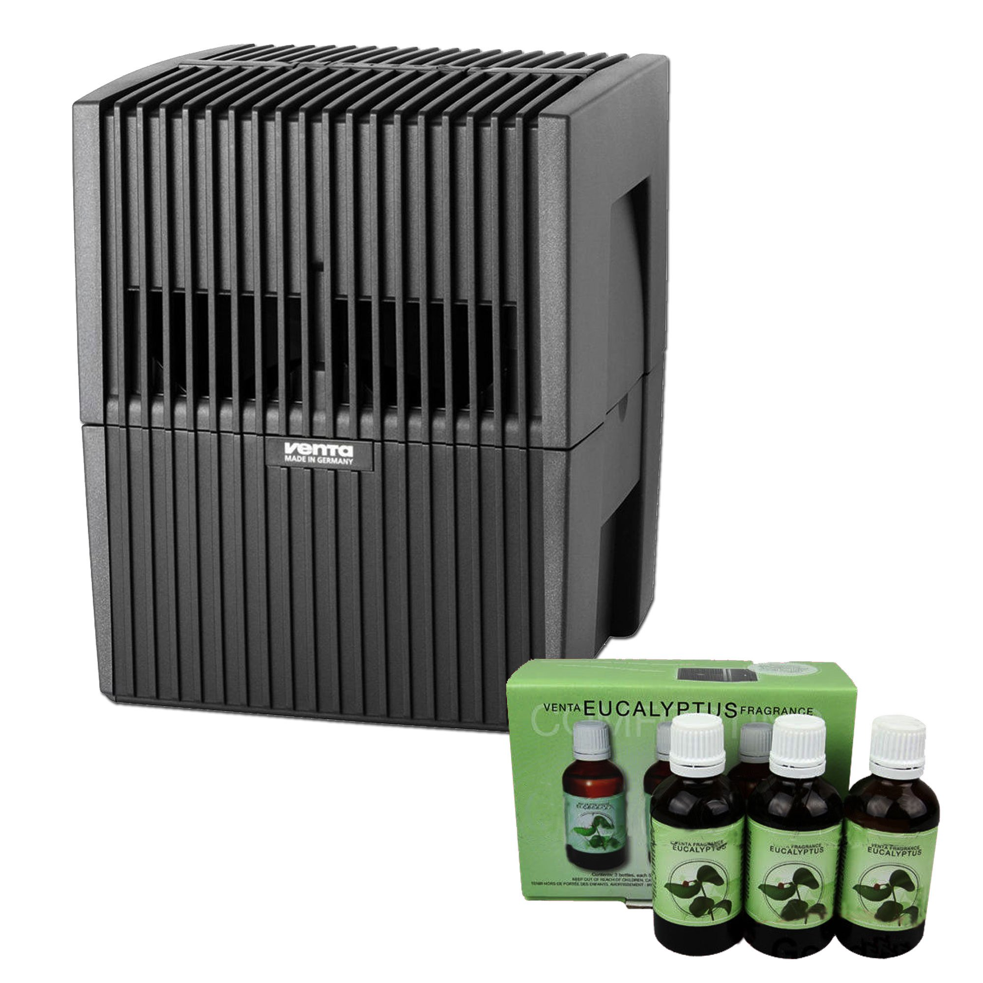 Venta LW15 Humidifier & Airwasher Charcoal Gray Metallic with Venta Airwasher 3-Pack Fragrance