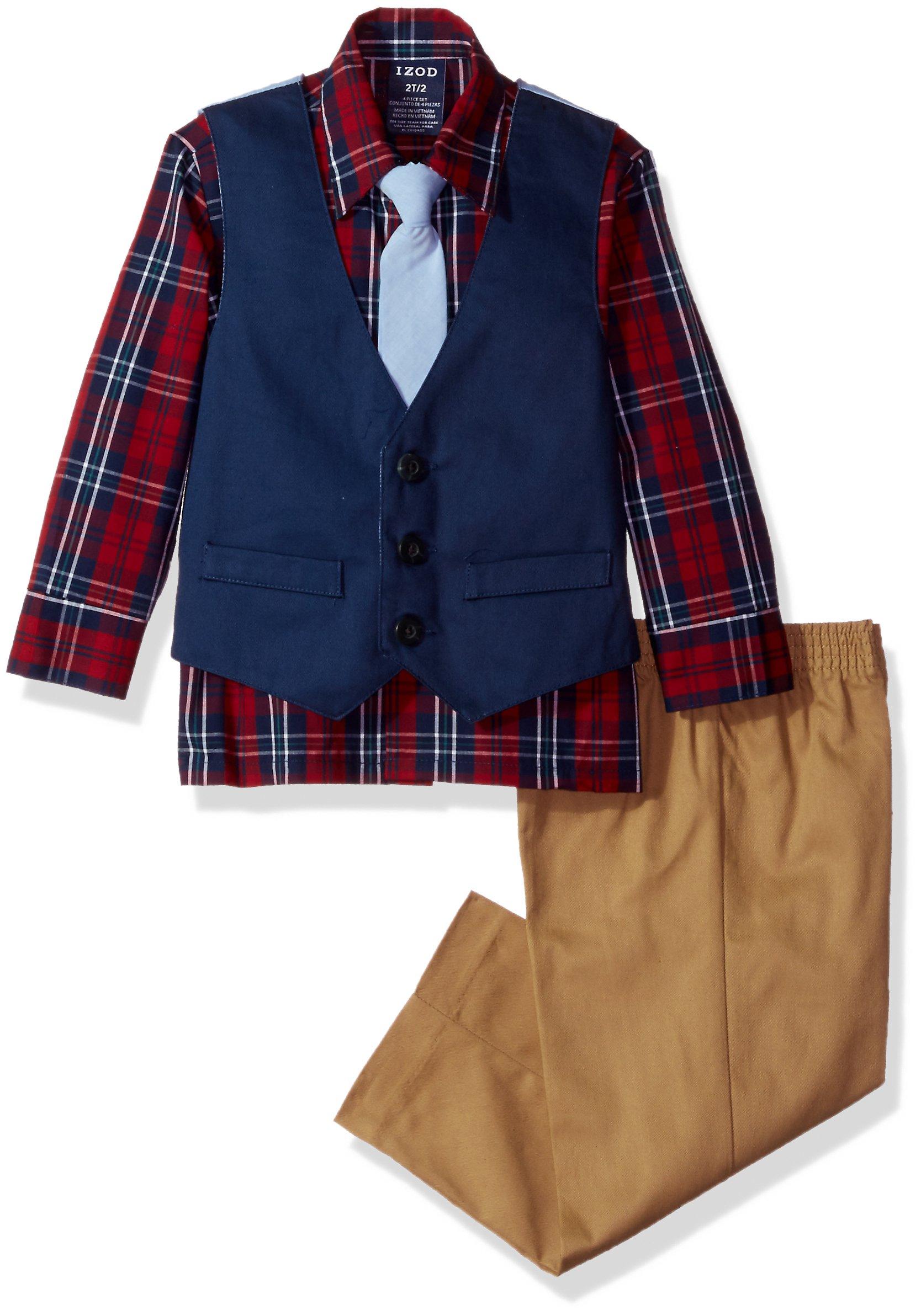 Izod boys 4-Piece Formal Vest Set with Shirt, Vest, Pants, and Tie, Solid Dark Blue, 3T