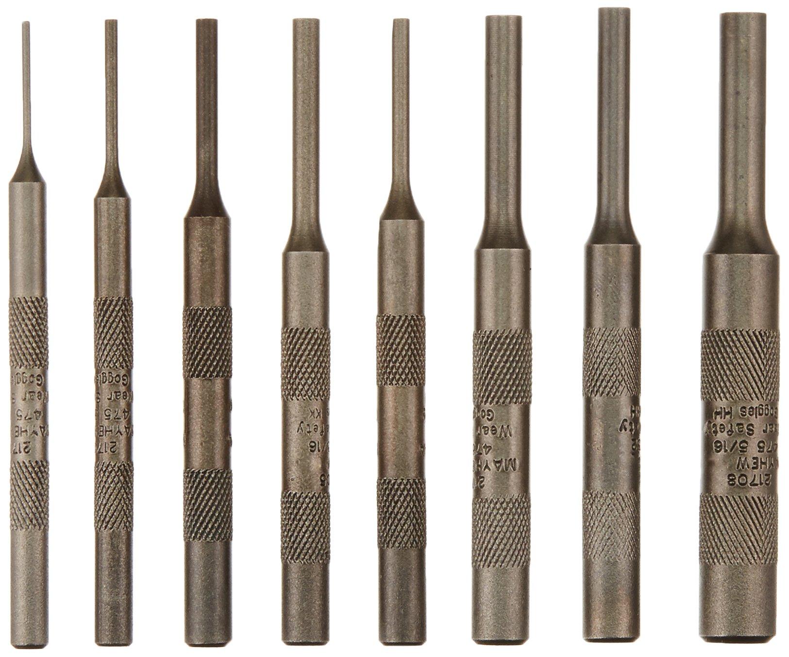 Mayhew Select 62060 480-K Knurled Pin Punch Kit, 8-Piece