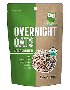Overnite Organics Apple Cinnamon Overnight Oats, USDA Organic, Vegan Friendly, Good Source of Protein, High Fiber, 1.75oz (Pack of 10)