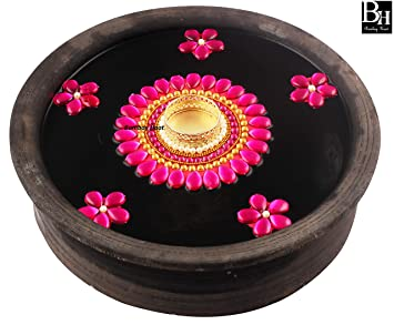 Bombay Haat Handcrafted Floating Tealight Candle Holder/Floating Diya with 5 Pretty Floating Flowers for Home Decor/Christmas Decoration (Hot Pink)