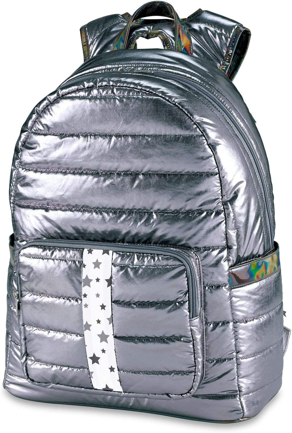 List price Top Trenz School or Camp Backpack Puffer Daypack Gun Luxury W Metal