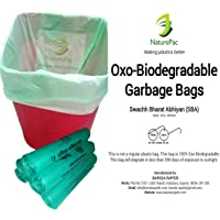 NaturePac Garbage Bags Biodegradable For Kitchen,Office,Medium Size (Green ,48cmx56cm,180 Bag)