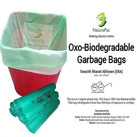 NaturePac Garbage Bags Biodegradable For Kitchen,Office,Medium Size (Green  ,48cmx56cm/19inchx22inch,180 Bag)