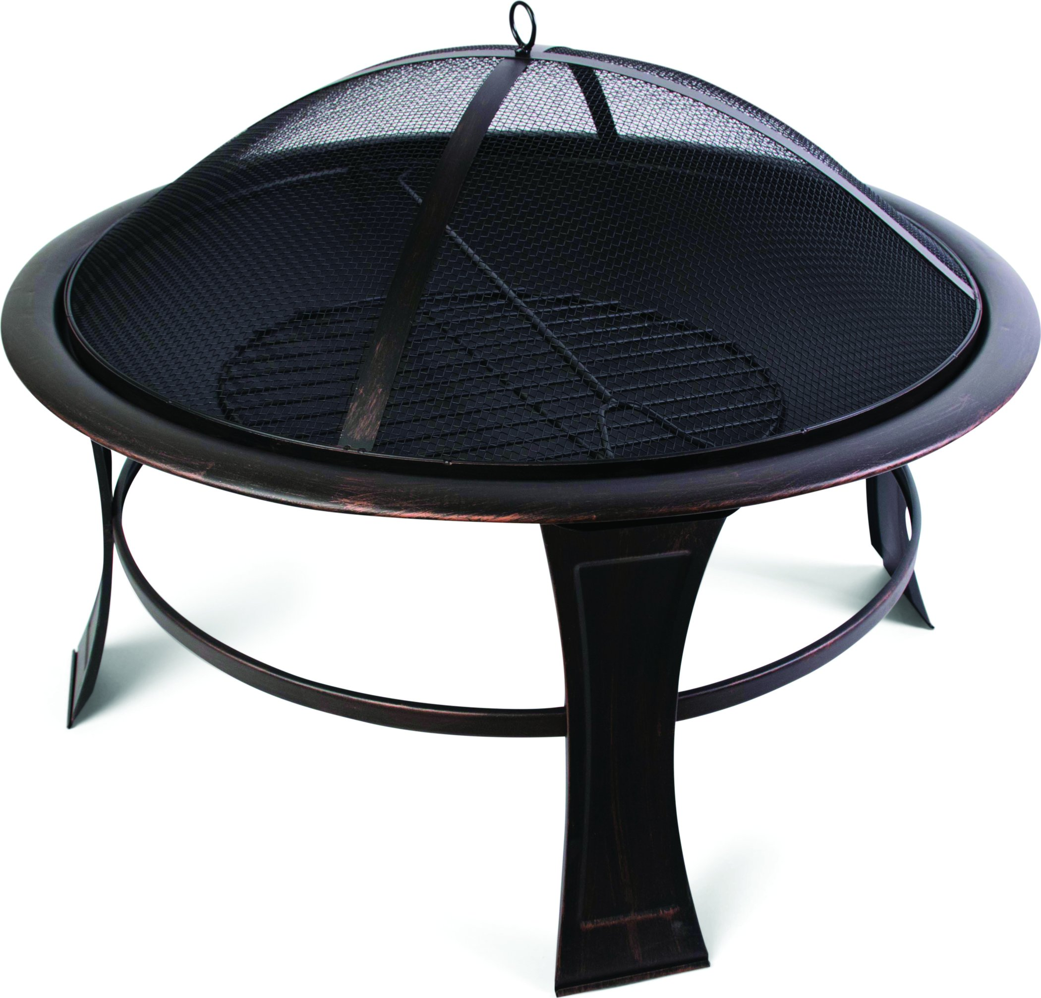 "Harbor Gardens LF246 30"" Savannah Fire Bowl/Pit, Powder Coated Black Stainless Steel - Heat-resistant, powder coated Steel bowl Mesh fire screen with high temperature paint and poker/lift tool Screen lift tool and wood grate included - patio, fire-pits-outdoor-fireplaces, outdoor-decor - 81HGHR%2B5MLL -"