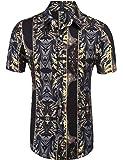 Daupanzees Mens Short Sleeve Fashion Luxury Design Print Dress Shirt