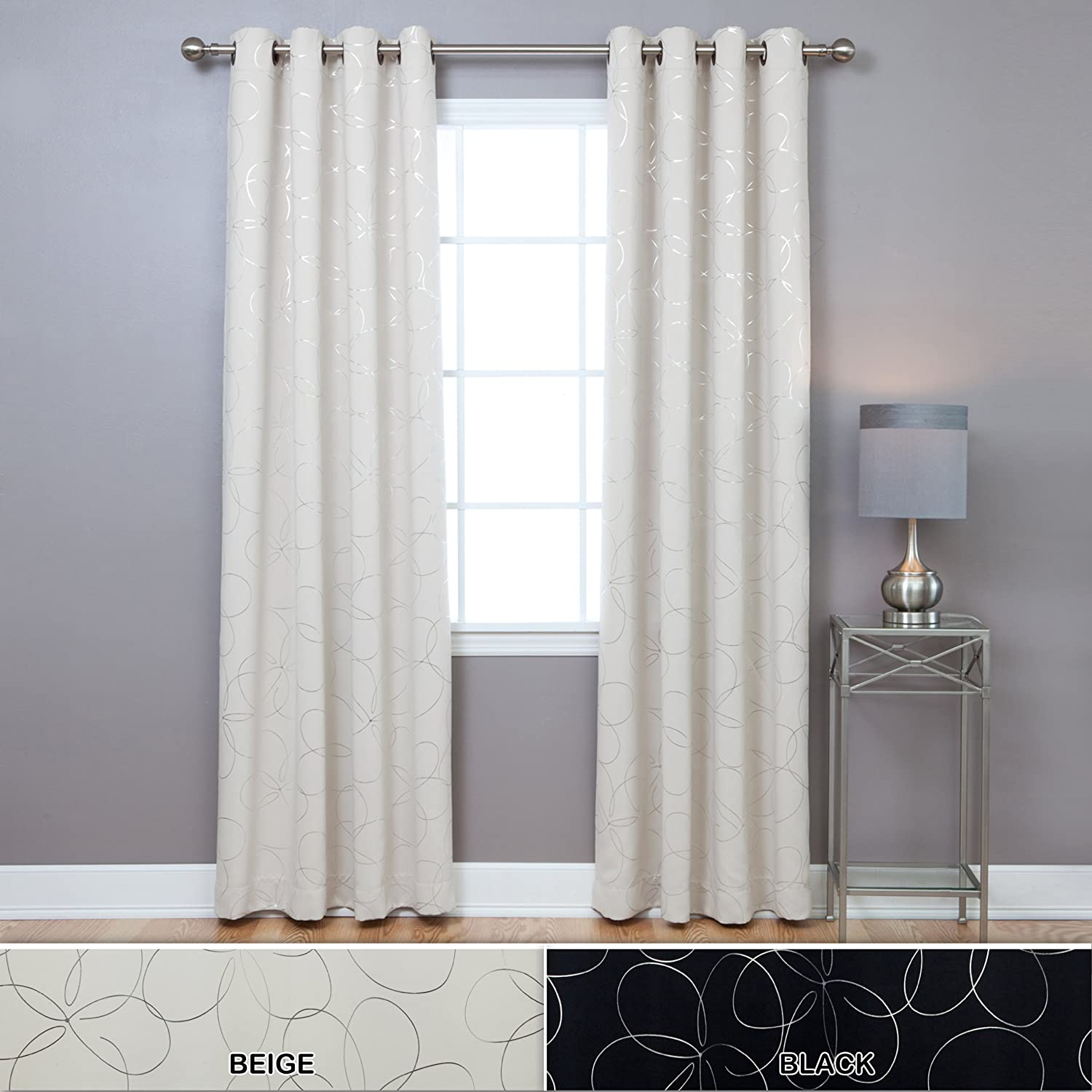 Curtain pair overstock shopping great deals on lights out curtains - Amazon Com Best Home Fashion Flower Foil Printed Thermal Insulated Blackout Curtains Antique Bronze Grommet Top Black 52 W X 84 L Set Of 2