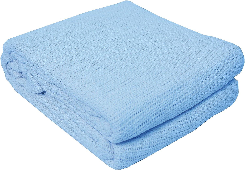 J&M Home Fashions Soft Premium Cotton Thermal Blanket Twin/Full, 72x90, Blue