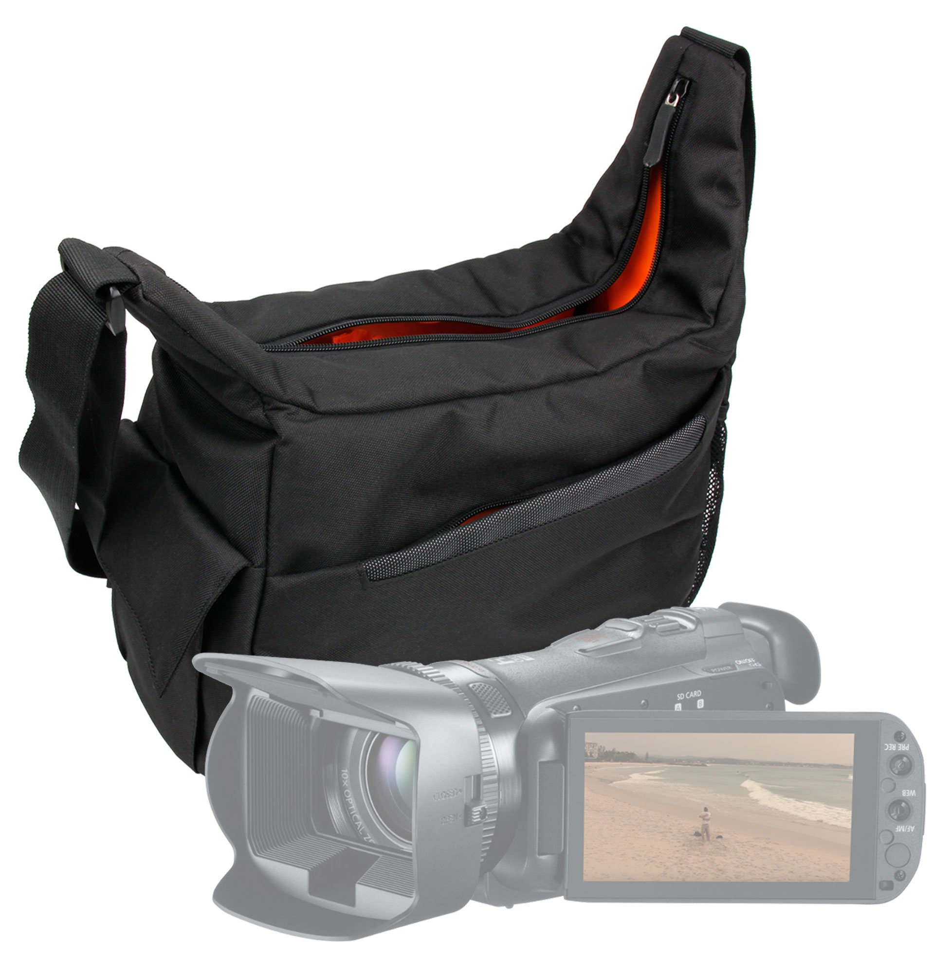 DURAGADGET Premium Quality Shoulder 'Sling' Bag in Black & Orange - Suitable for Canon Vixia HF G20  G10  LEGRIA HF G25 by DURAGADGET