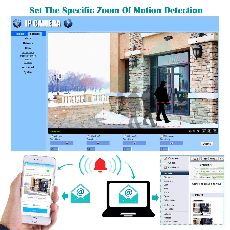 Cámara de vigilancia exterior cámara IP 720P, IP66 Sistema de vigilancia de seguridad visión nocturna y control remoto, detección de movimiento, ...