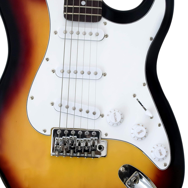 Bronceador para guitarra eléctrica de tamaño completo CB SKY ST de 39 pulgadas con amplificador de 5 vatios, correa, cuerda, cable y pico: Amazon.es: ...