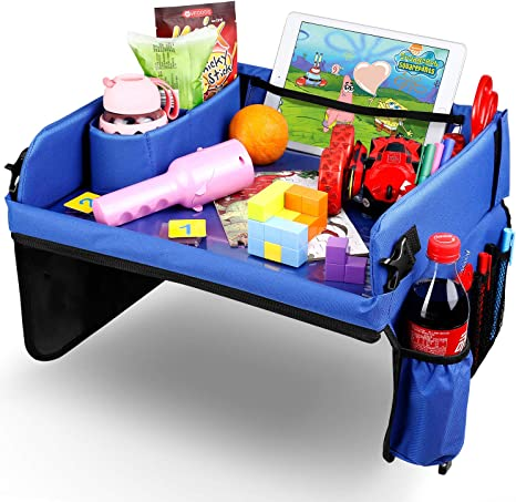 Amzdeal - Mesa de viaje para niños, ajustable y portátil, con película de dibujo transparente y bolsa de almacenamiento, como bandeja de viaje para cochecito de bebé, avión, color azul: Amazon.es: Bebé