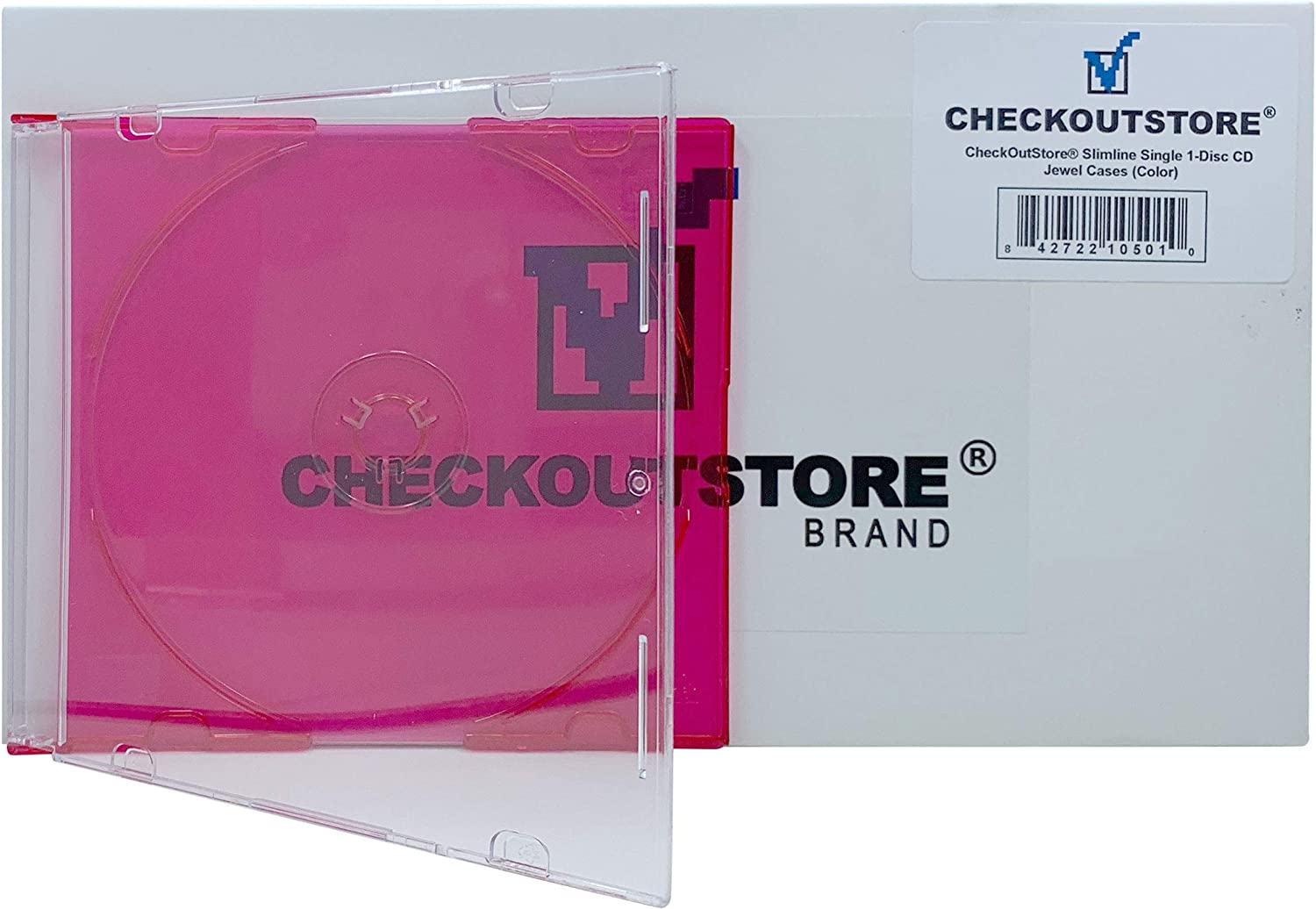 Red CheckOutStore Slimline Single 1-Disc Color CD Jewel Cases 50