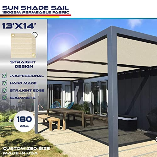 Windscreen4less Straight Edge Sun Shade Sail,Rectangle Outdoor Shade Cloth Pergola Cover UV Block Fabric 180GSM - Custom Size Beige 13 X 14