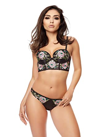 abe8ebad98 Ann Summers Womens Embroidered Rose Longline Bra Satin Sexy Lingerie  Underwear Black Pink 12-14 B C  Amazon.co.uk  Clothing