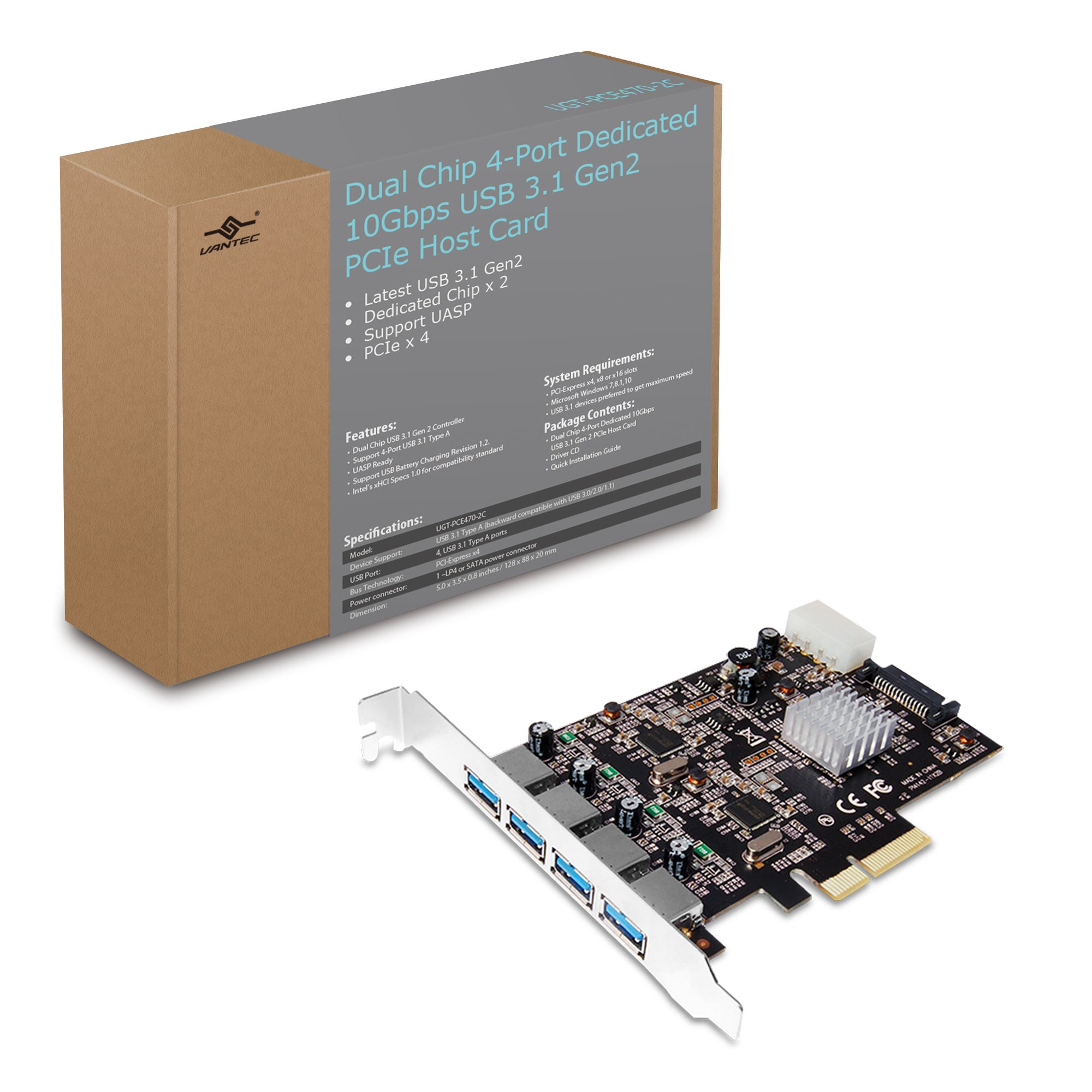 Vantec 4-port Dedicated 10gbps Usb 3.1 Gen 2 Pcie Host Card