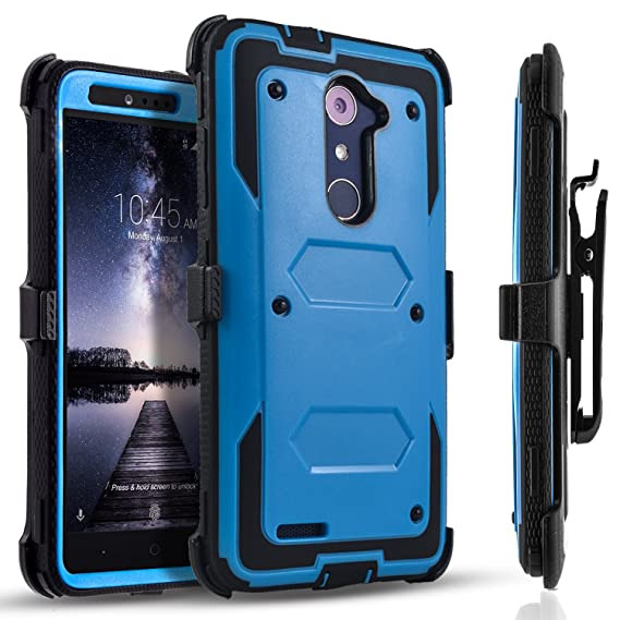 wholesale dealer 45236 d7e1c ZTE ZMax Pro Case, [SUPER GUARD] Dual Layer Hybrid Protective Cover With  [Built-in Screen Protector] Holster Locking Belt Clip +Circle(TM) Stylus ...