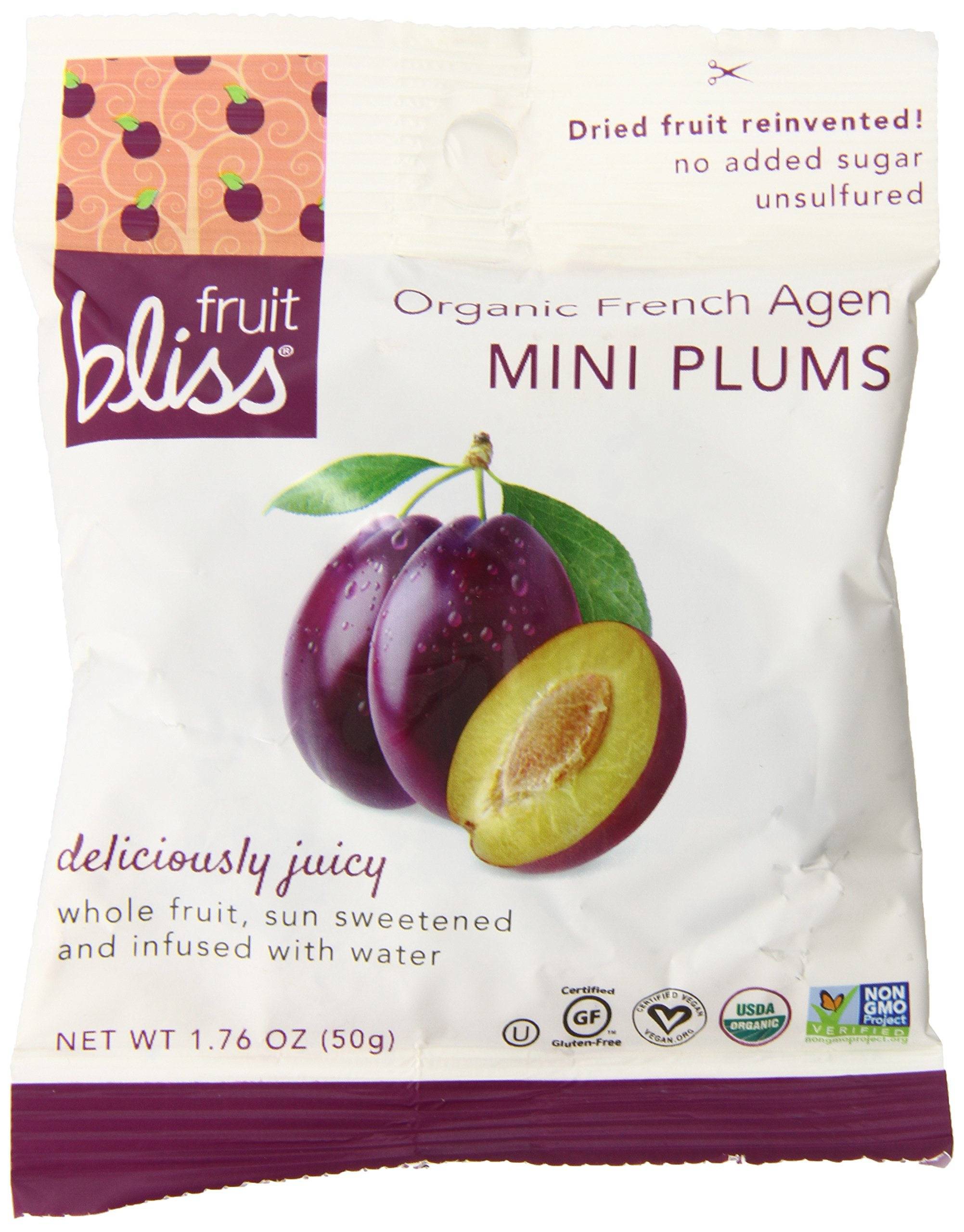 Fruit Bliss Organic French Agen Mini Plums, 1.76 Ounce (Pack of 12)