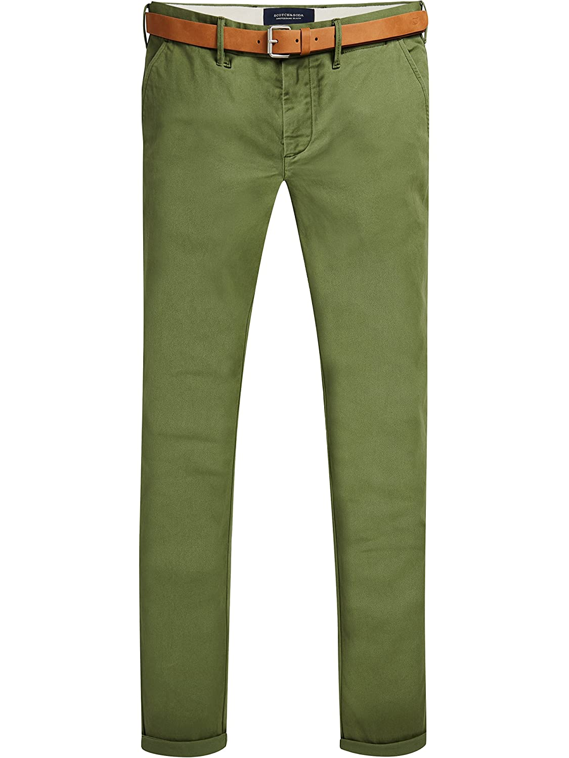 TALLA 29W / 32L. Scotch & Soda Stuart In Peached Twill with Belt, Pantalones para Hombre