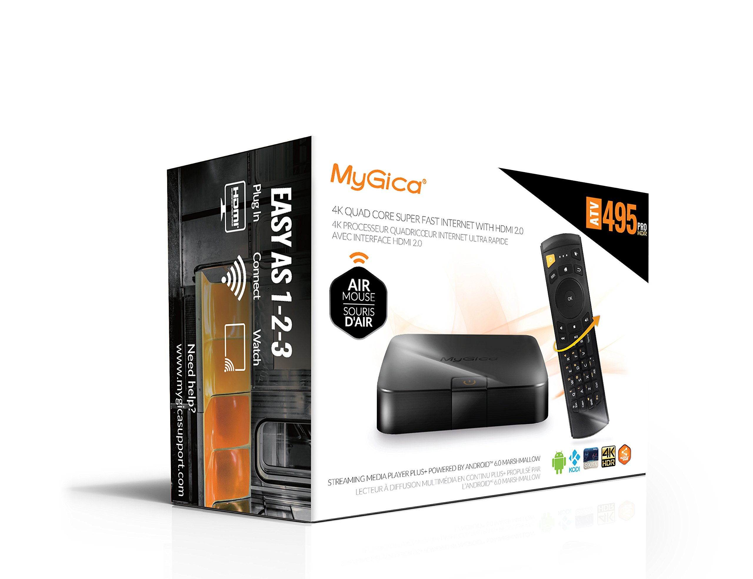 MyGica ATV 495Pro HDR | Android 6.0 Marshmallow Streaming Media Player | 4K Ultra HD Video | Dual Band AC Wi-Fi | KR-41 Air Keyboard Remote Control - 2GB RAM / 8GB Memory