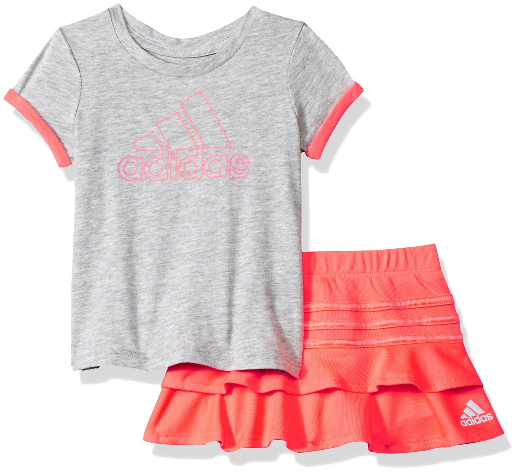 adidas Baby Girls Skort Set, Grey Heather, 24M
