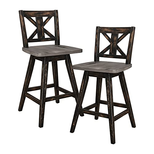 Homelegance Amsonia Counter Height Swivel Stool 2 Pack , Black