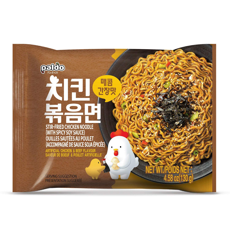 Paldo Fun & Yum Stir-Fried Chicken Instant Noodles, Brothless Ramen with Spicy Soy Seasoning Sauce, Best Oriental Style Korean Ramyun Noodle, Soupless K-Food, 매콤 치킨 볶음면 130g x 4 Pack