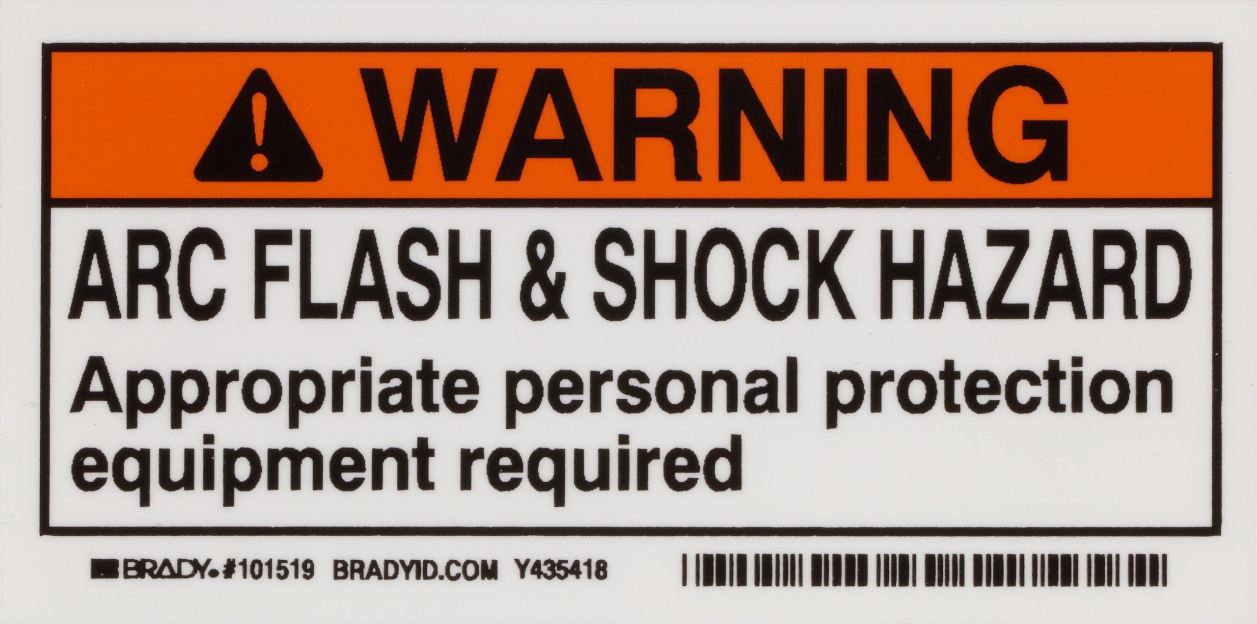 Brady 101519 2'' Height, 4'' Width, B-302 High Performance Polyester, Black And Orange On White Color Arc Flash And Shock Label (Pack Of 10)
