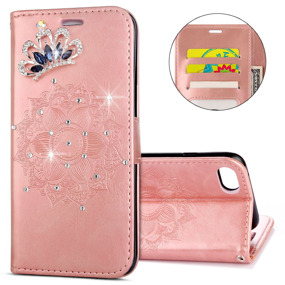 IKASEFU iPhone 7,iPhone 8 Case,Clear Crown Rhinestone Diamond Bling Glitter Wallet with Card Holder Emboss Mandala Floral Pu Leather Magnetic Flip Case Protective Cover for iPhone 7/8,Rosa Gold