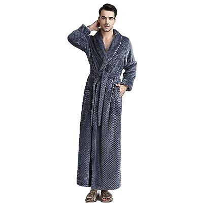 BIFINI Men/Women Ultra Soft Plush Flannel Fleece Shawl Collar Bathrobe at Men's Clothing store