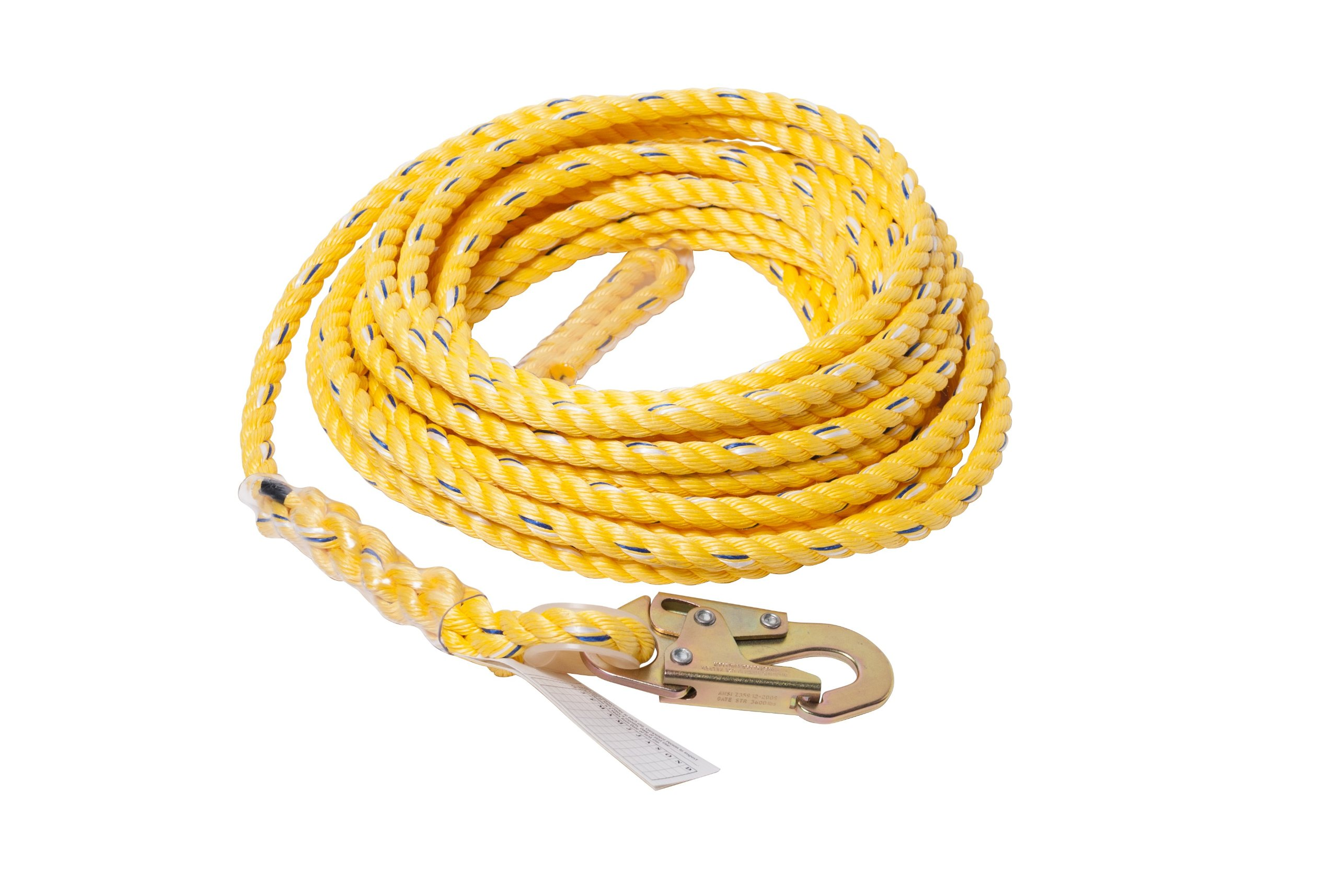 Guardian Fall Protection 01365 VL58-150 Standard 5/8 Inch Thick Rope with Snaphook End, 150-Foot