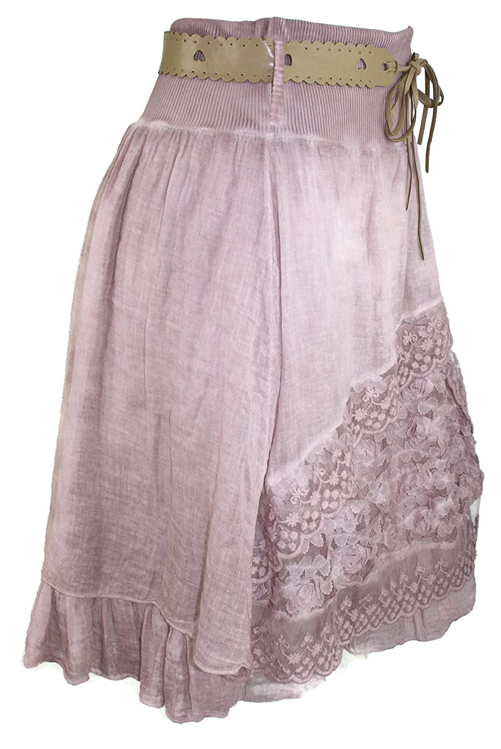 #786 Women's Batik Rock with Lace Skirt Midi Turquoise / Pink / Grey One Size 36 38 40