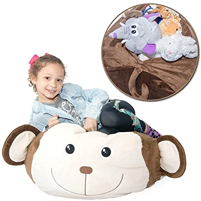 """Jumbo Stuffed Animal Storage Bean Bag [Unfilled] - """"Soft 'n Snuggly"""" Comfy Fabric Kids Love - Monkey, Pig or Elephant - Replace Your Mesh Toy Hammock or Net - Store Extra Blankets & Pillows Too: Baby"""