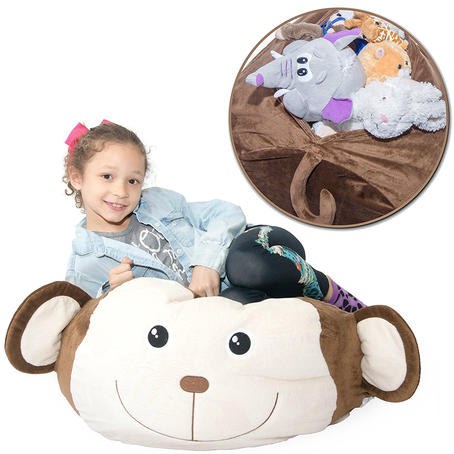 Jumbo Stuffed Animal Storage Bean Bag Chair - Super SOFT Fabric Kids Love -  3 Plush