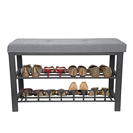 Simplify Storage Bench Shoe Rack Ottoman Tufted Padded Seating For Entryway Bedroom Closet Hallway Grey