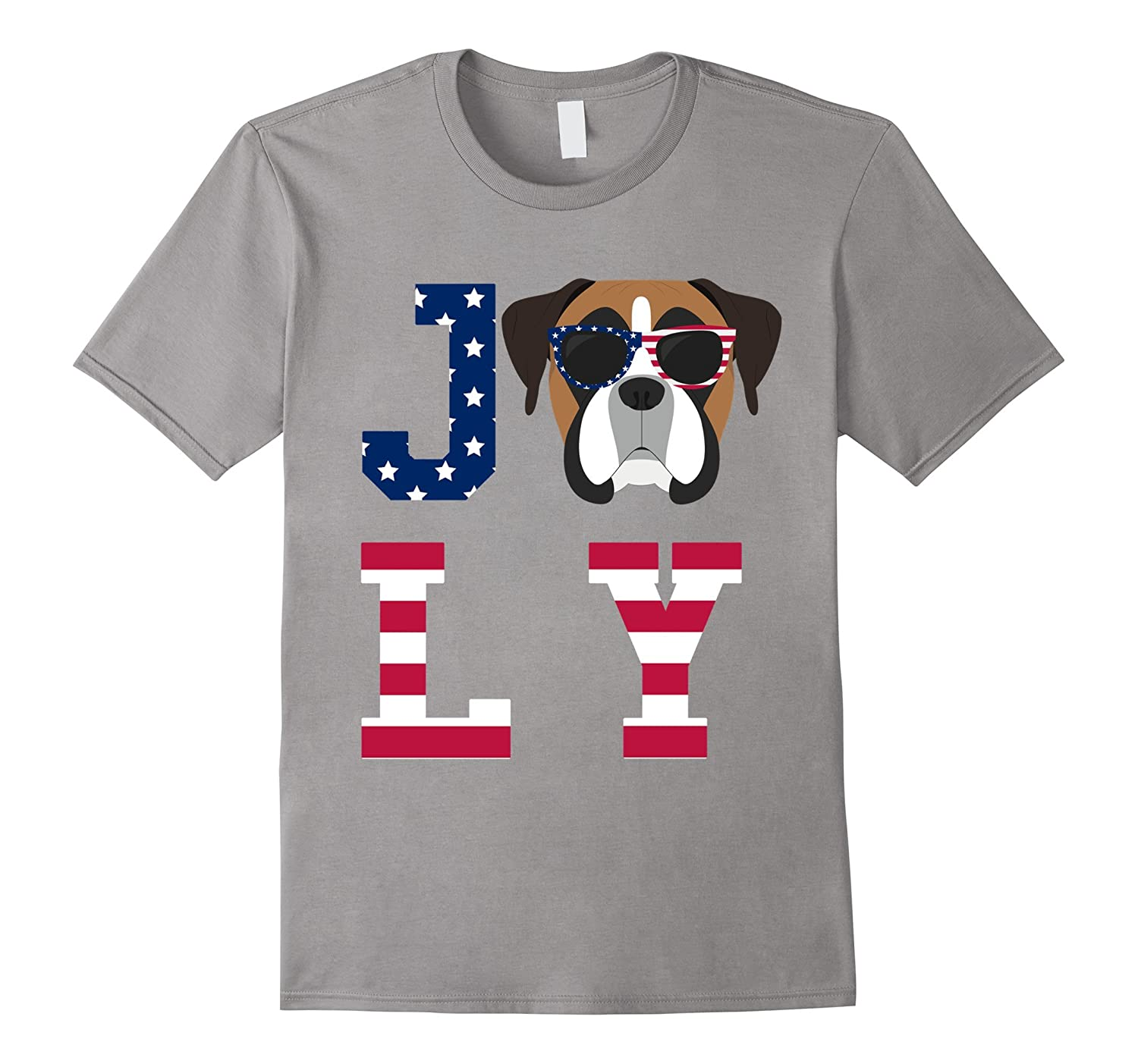 4th of July - American Flag Boxer Dog T-Shirt-Art