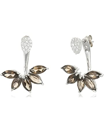 8dd618f60 Smoky Quartz and Cubic Zirconia Floral Earring Jacket