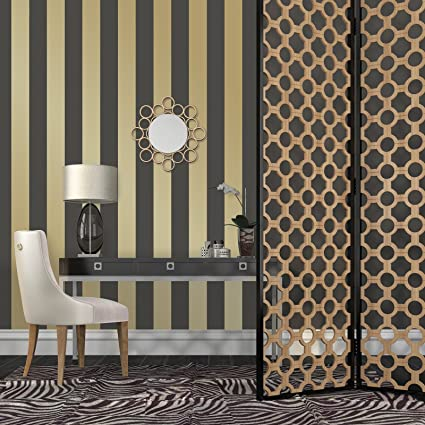 Tempaper ST601 Removeable Wallpaper Stripes Metallic Gold